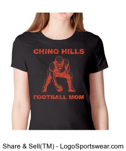 Chino Hills Football Mom Red Glitter Cotton Short Sleeve Shirt Design Zoom